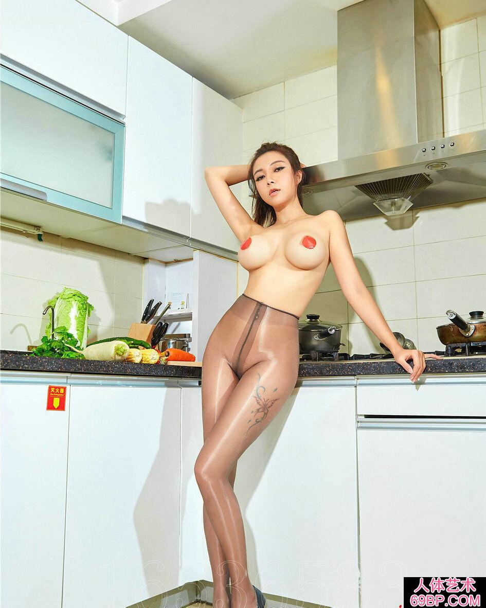 绝品肉丝尤物果儿厨房里的人体艺术写真