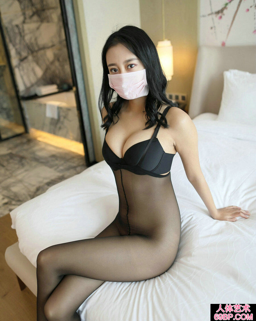 ROSI口罩NO.630妩媚黑内裤妹子居家无内黑丝摄影